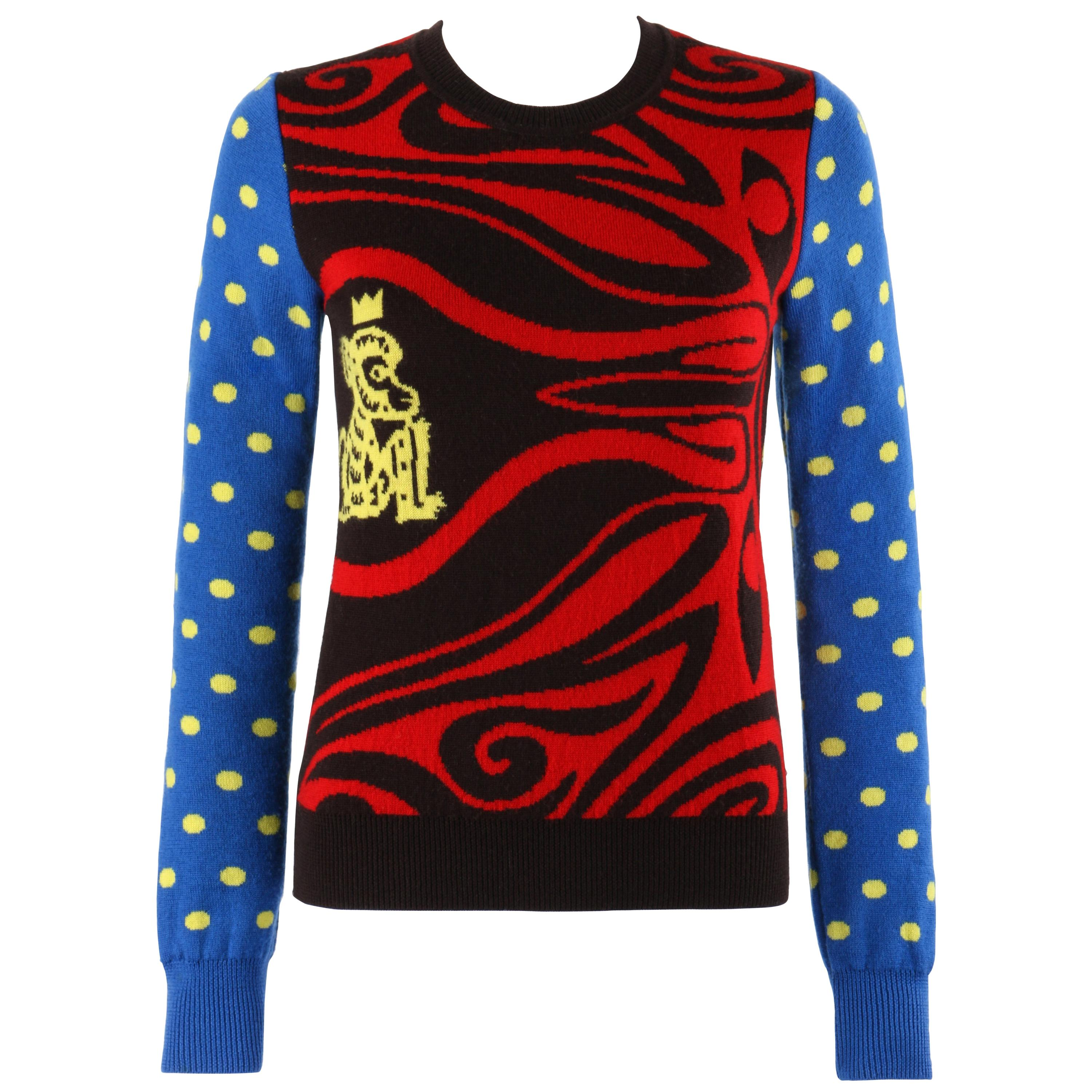 WALTER VAN BEIRENDONCK 2000's Multi-Color Abstract Polka Dot Monkey Sweater