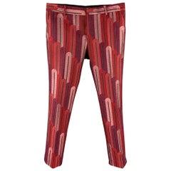 WALTER VAN BEIRENDONCK F/W 16 Size 34 Burgundy & Red Brocade Polyester Pants