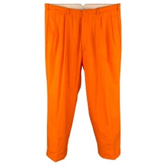 WALTER VAN BEIRENDONCK Size 36 Orange Cotton Cuffed Pleated 2003 Dream Trousers