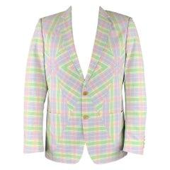 WALTER VAN BEIRENDONCK Size 42 Lavender & Green Patchwork Cotton Sport Coat