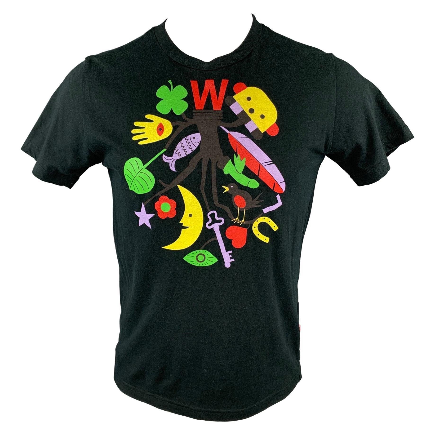 WALTER VAN BEIRENDONCK Size M Black Graphic Cotton Crew-Neck T-shirt
