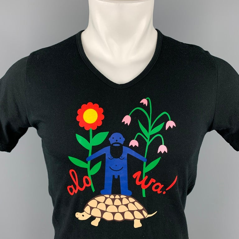 WALTER VAN BEIRENDONCK t-shirt comes in a black cotton with a front graphic design featuring a v-neck. Made in Italy.  Very Good Pre-Owned Condition. Marked: M  Measurements:  Shoulder: 16 in. Chest: 36 in. Sleeve: 8.5 in. Length: 24.5 in.