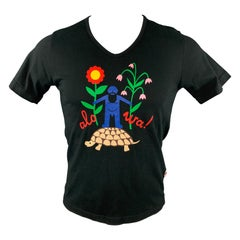 WALTER VAN BEIRENDONCK Size M Black Graphic Cotton V-Neck T-shirt