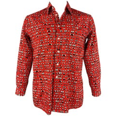 WALTER VAN BEIRENDONCK Size M Red Print Cotton Button Up Long Sleeve Shirt