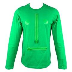 WALTER VAN BEIRENDONCK Size XL Green Cotton Long Sleeve T-shirt