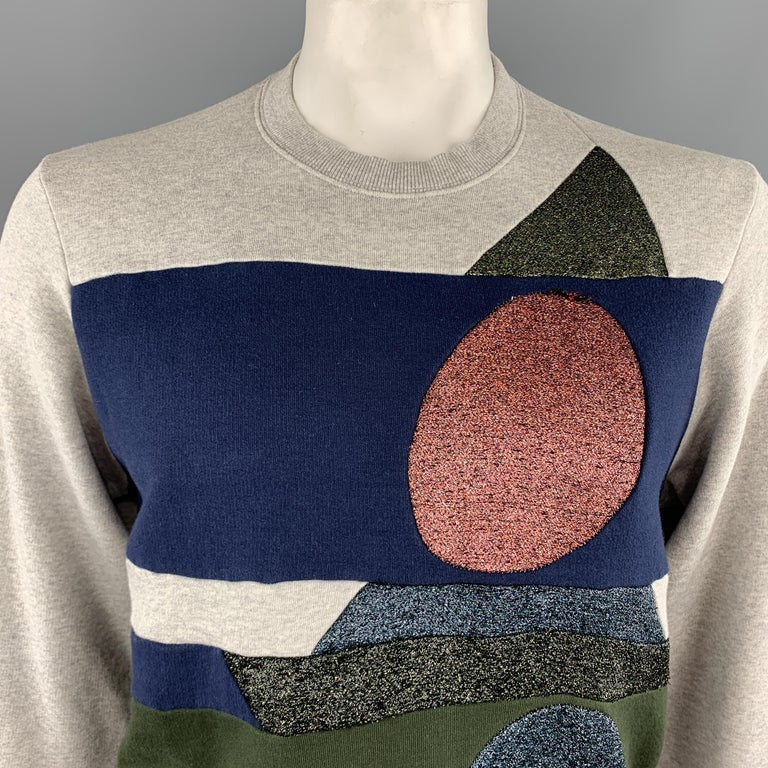 WALTER VAN BEIRENDONCK pullover sweatshirt comes in light heather gray jersey with navy and olive green color block patchwork stripes and sparkle knit geometric shapes panels. Wear throughout. As-is. Made in Italy.  Good Pre-Owned Condition. Marked: