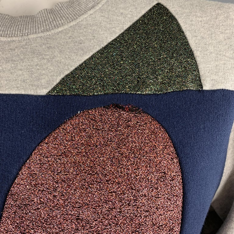 WALTER VAN BEIRENDONCK Size XL Light Heather Gray Sparkle Color Block Sweatshirt In Good Condition In San Francisco, CA