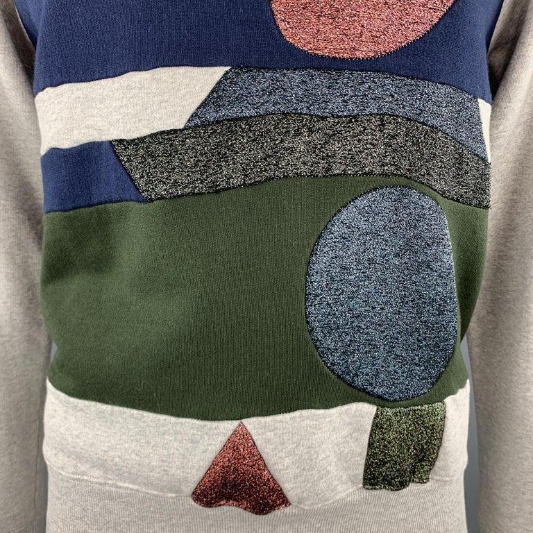 Men's WALTER VAN BEIRENDONCK Size XL Light Heather Gray Sparkle Color Block Sweatshirt