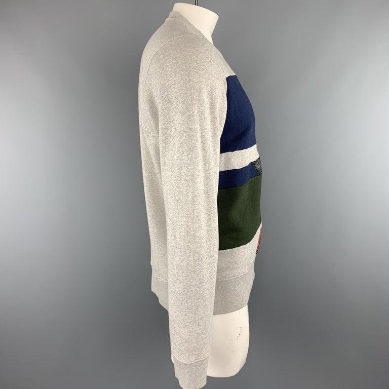 WALTER VAN BEIRENDONCK Size XL Light Heather Gray Sparkle Color Block Sweatshirt 1