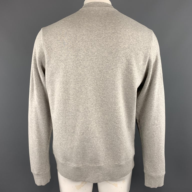 WALTER VAN BEIRENDONCK Size XL Light Heather Gray Sparkle Color Block Sweatshirt 2