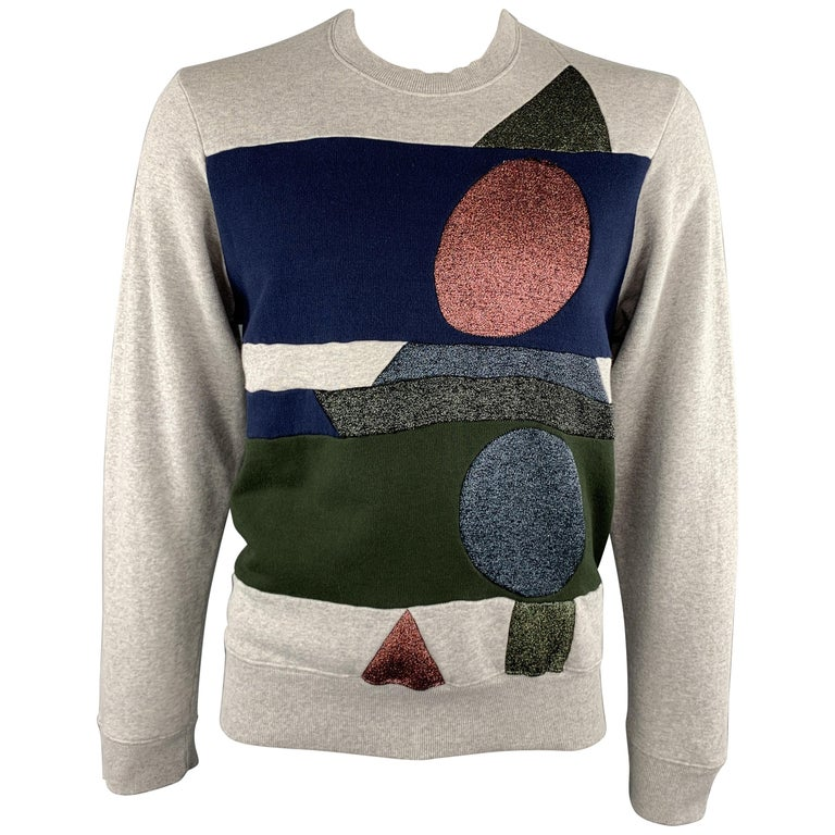 WALTER VAN BEIRENDONCK Size XL Light Heather Gray Sparkle Color Block Sweatshirt