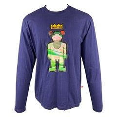 WALTER VAN BEIRENDONCK Size XL Navy Cotton Hologram Patch Long Sleeve T-shirt