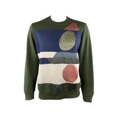 WALTER VAN BEIRENDONCK Size XL Olive Green Sparkle Panel Crewneck Pullover