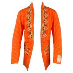 WALTER VAN BEIRENDONCK Size XL Orange Embroidery Cotton Shawl Lapel Sport Coat