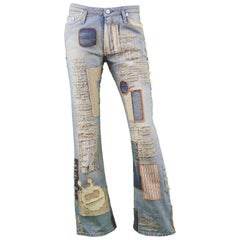 Walter Van Beirendonck Vintage 1990s W&LT Distressed Patchwork Ripped Jeans