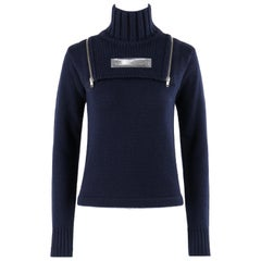 WALTER VAN BEIRENDONCK Wild & Lethal Trash c.1990's Navy Knit Turtleneck Sweater