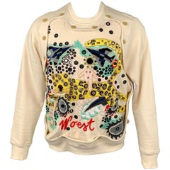 WALTER VAN BEIRENDONCK Woest F/W 16 Size M Cream Embroidery Cotton Sweatshirt