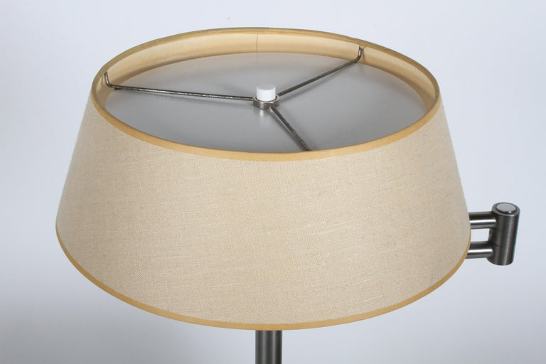 Walter Von Nessen Brushed Nickel Swing Arm Table Lamp For Sale 3