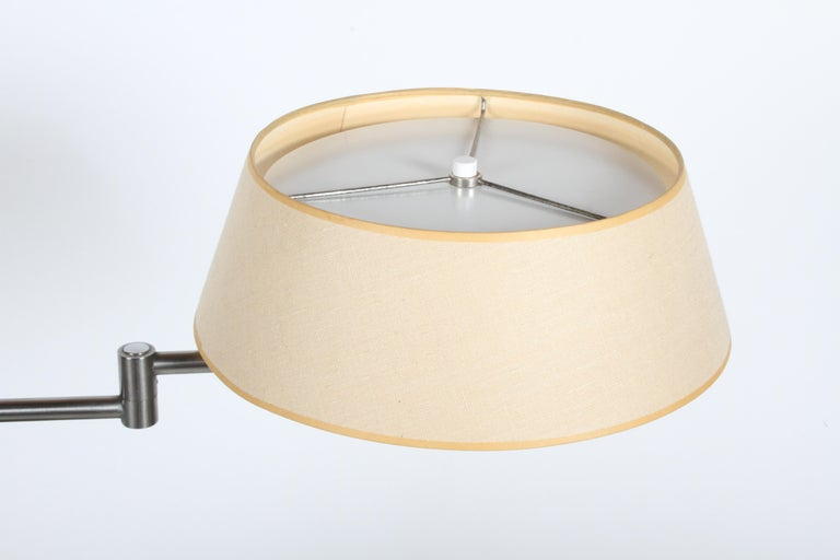 Walter Von Nessen Brushed Nickel Swing Arm Table Lamp For Sale 4