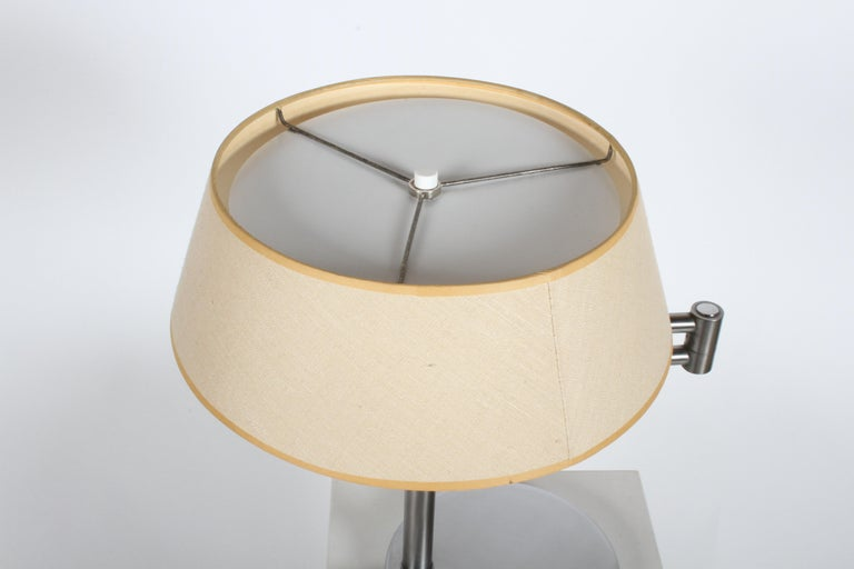 American Walter Von Nessen Brushed Nickel Swing Arm Table Lamp For Sale