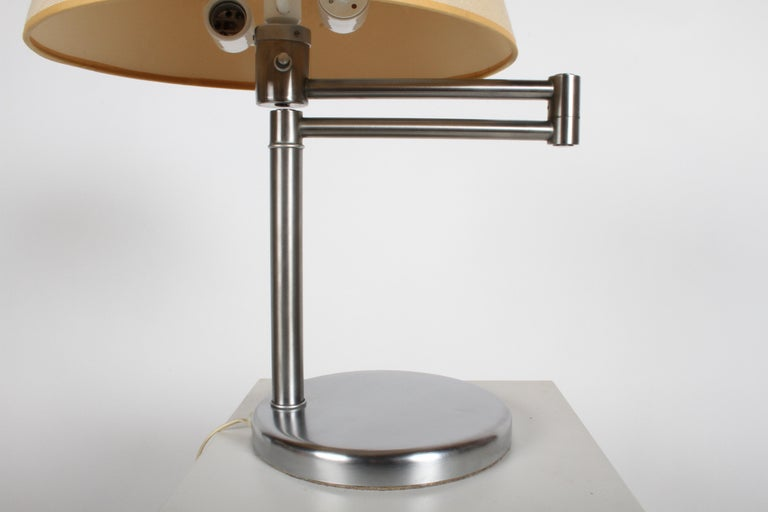 Plated Walter Von Nessen Brushed Nickel Swing Arm Table Lamp For Sale