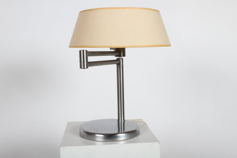 Walter Von Nessen Brushed Nickel Swing Arm Table Lamp In Good Condition For Sale In St. Louis, MO