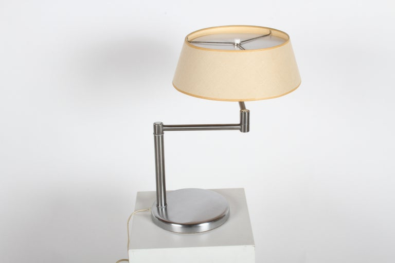 Mid-20th Century Walter Von Nessen Brushed Nickel Swing Arm Table Lamp For Sale