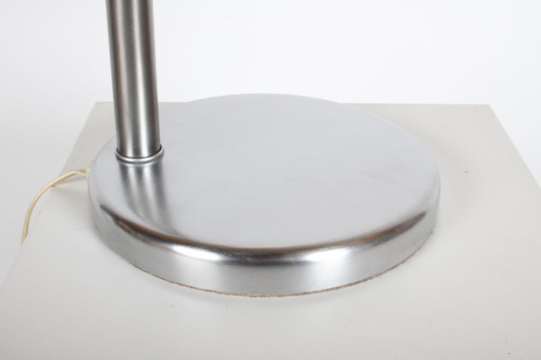 Walter Von Nessen Brushed Nickel Swing Arm Table Lamp For Sale 1