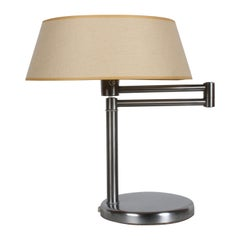 Walter Von Nessen Brushed Nickel Swing Arm Table Lamp