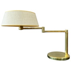 Walter Von Nessen for Nessen Lamps Brass Swing Arm Lamp Original Shade