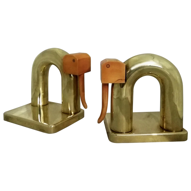 Walter Von Nessen Pair of Brass and Bakelite Elephant Bookends