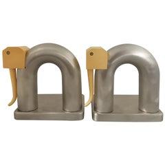 Walter Von Nessen Pair of Nickel-Plated Brass and Bakelite Elephant Bookends