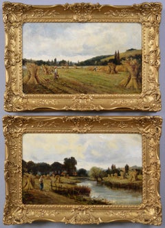 19th Century pair of landscape oil paintings of figures in a cornfield