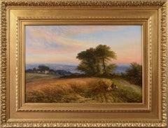 19th Century landscape oil painting of a cornfield