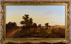 19th Century landscape oil painting of a harvest