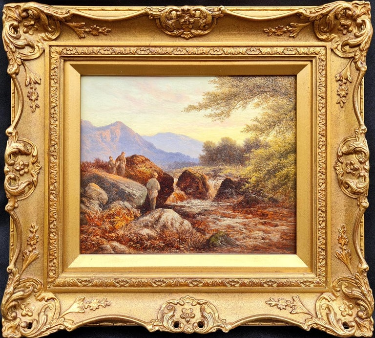 Walter Williams Landscape Painting - Fishing Amongst The Rocks, North Wales