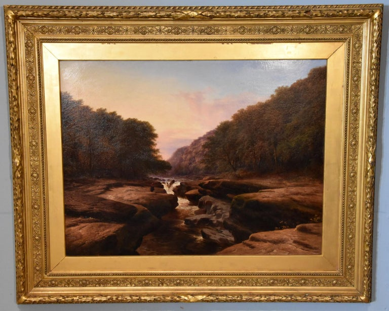 Oil Painting 'The Strid, near Bolton Abbey Wharfedale' by Walter Williams For Sale 1