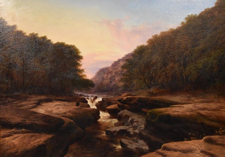 Oil Painting 'The Strid, near Bolton Abbey Wharfedale' by Walter Williams. Walter Williams 1835-1906 was a painter of the highly popular Williams family of painters regular exhibitor RA RBA and elsewhere. Oil on canvas. Signed and Dated 1876. In