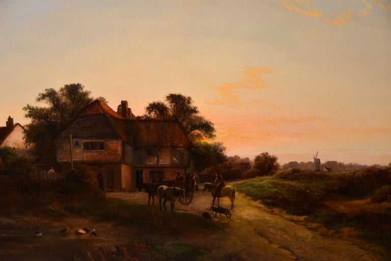 """""""Outside the Bell Inn"""" by Walter Williams. Walter Williams 1835-1906 was a painter of the highly popular Williams family of painters regular exhibitor RA RBA and elsewhere. Oil on canvas. Signed   Dimensions unframed height 24"""" x width"""