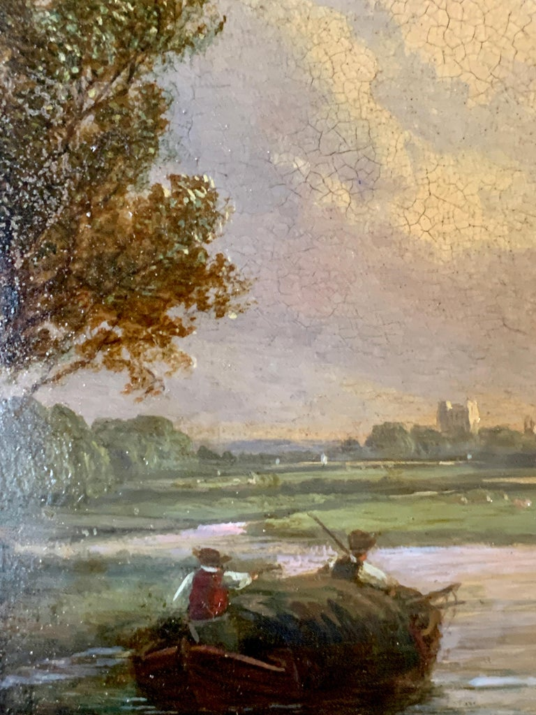 Pair of English 19th century landscapes with men fishing  For Sale 2