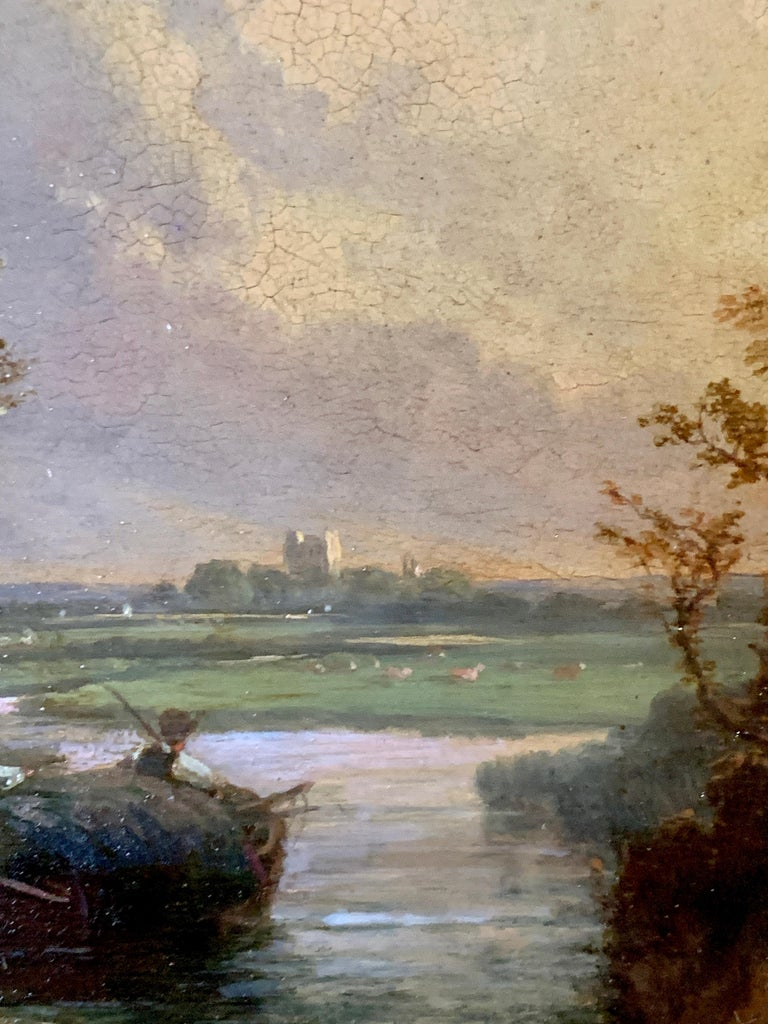 Pair of English 19th century landscapes with men fishing  For Sale 3