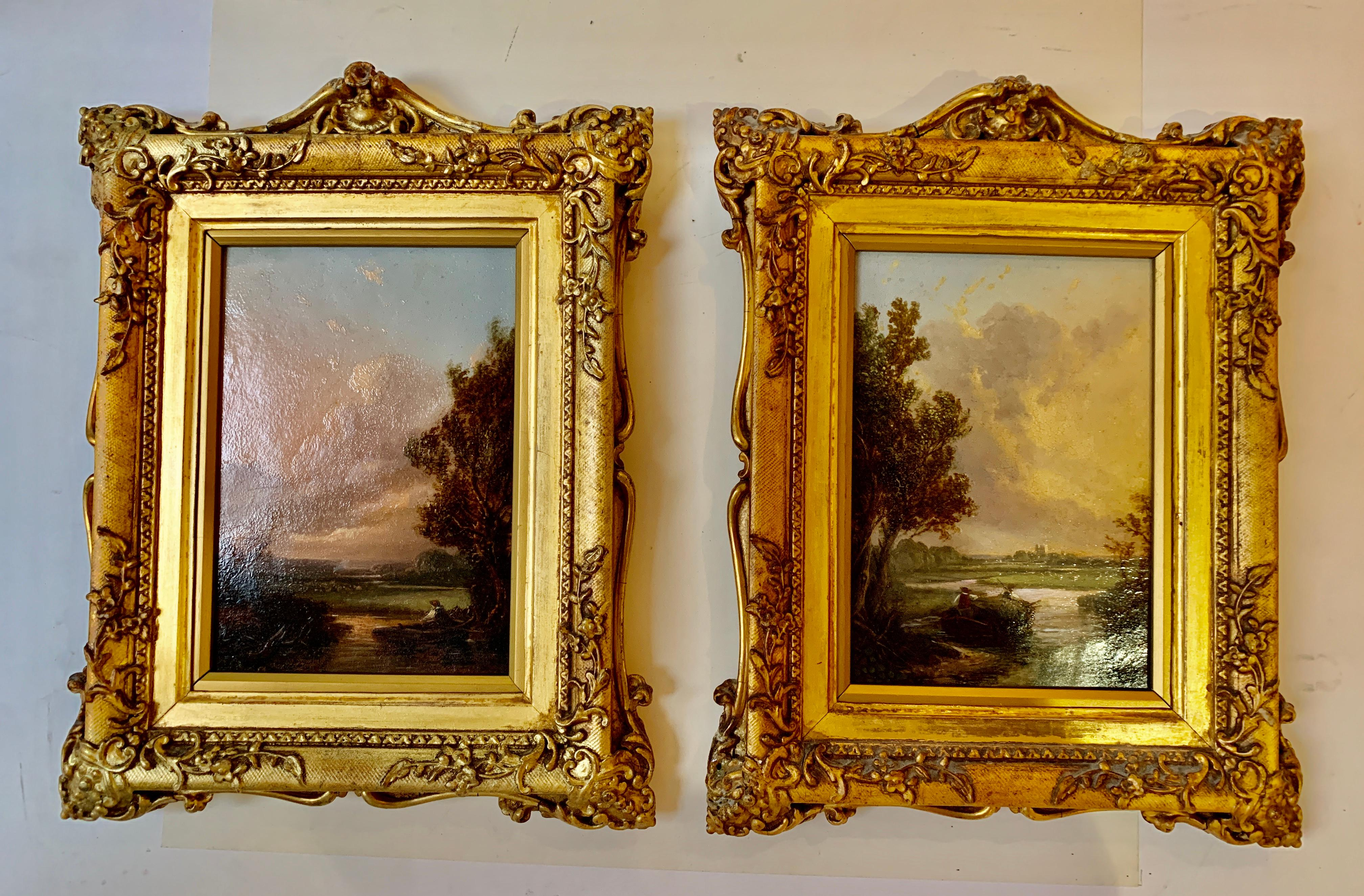 Pair of English 19th century landscapes with men fishing