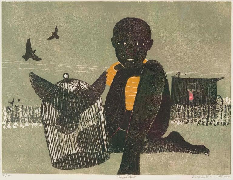 Walter Williams Figurative Print - CAGED BIRD