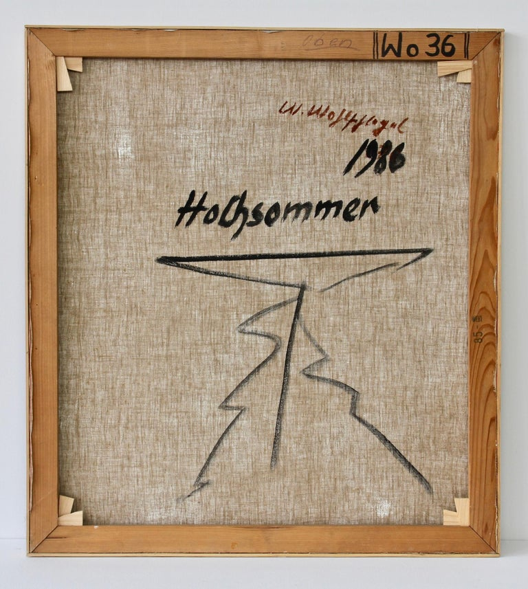 Walter Wohlschlegel 'Hochsommer' Vintage Abstract Modern Art Painting, 1986 For Sale 10