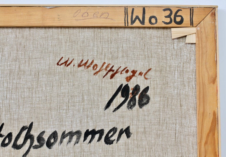Walter Wohlschlegel 'Hochsommer' Vintage Abstract Modern Art Painting, 1986 For Sale 11
