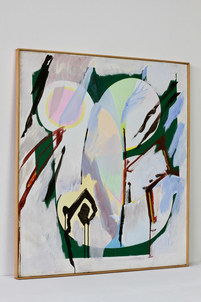 Informal abstract modernist painting signed by German artist Walter Wohlschlegel (1907-1999). Painted in 1986, this piece is titled 'Hochsommer' (high summer) and is painted on canvas. Here Wohlschlegel creates an interesting color / color play,