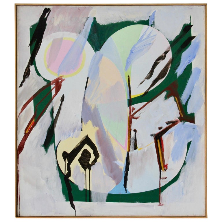Walter Wohlschlegel 'Hochsommer' Vintage Abstract Modern Art Painting, 1986 For Sale