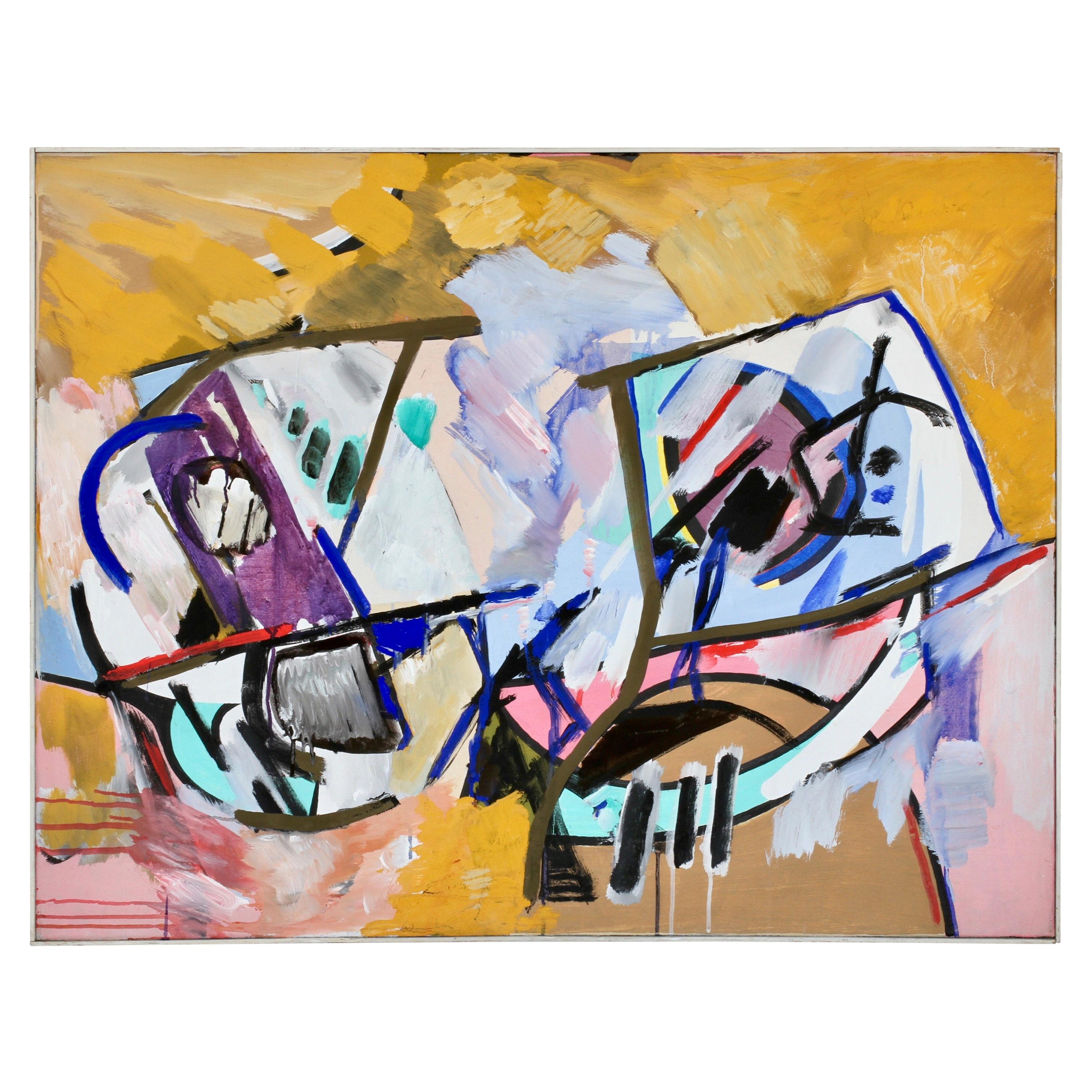 Walter Wohlschlegel Signed Abstract Modern Art Oil Painting, Germany, circa 1986