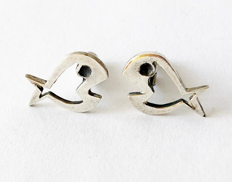 Men's Walter Wright Sterling Silver Modernist Fish Cufflinks For Sale