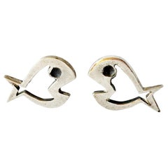 Walter Wright Sterling Silver Modernist Fish Cufflinks